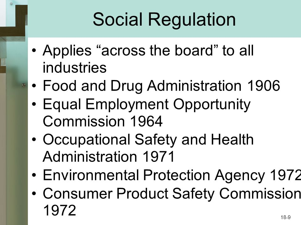 """Social Regulation Applies """"across the board"""" to all industries Food and Drug Administration 1906 Equal Employment Opportunity Commission 1964 Occupati"""