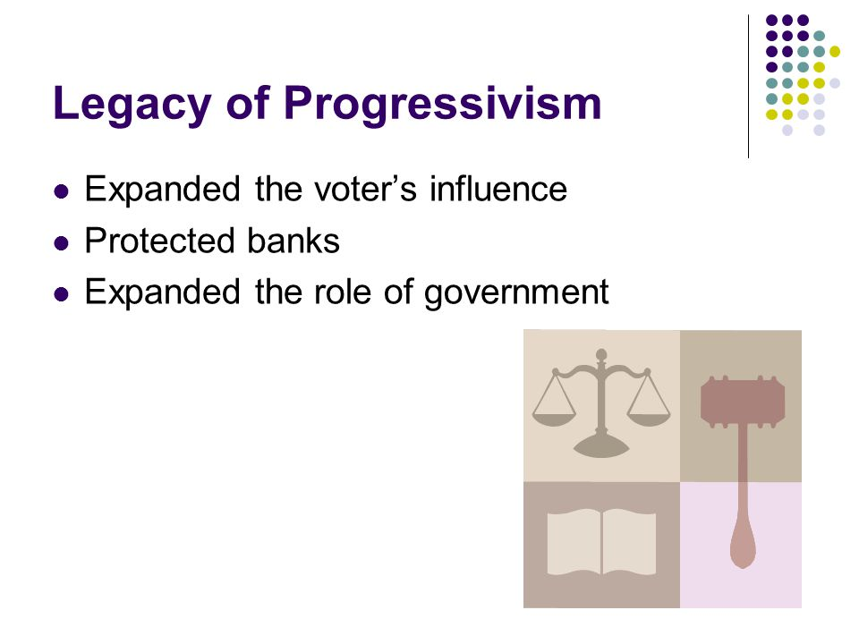 Legacy of Progressivism Expanded the voter's influence Protected banks Expanded the role of government