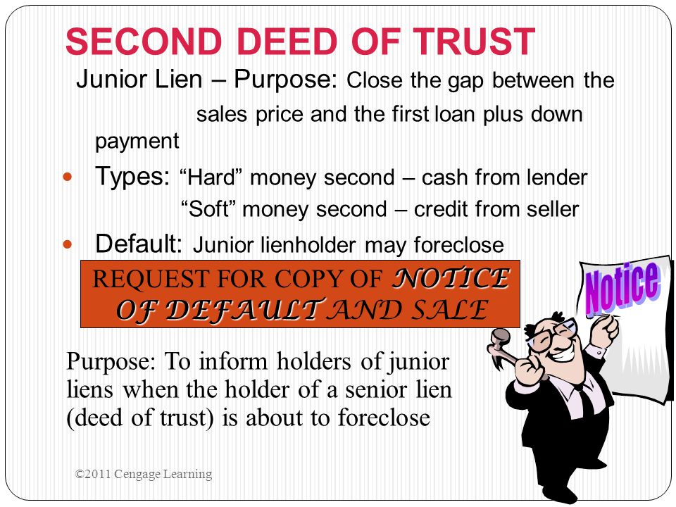 """SECOND DEED OF TRUST Junior Lien – Purpose: Close the gap between the sales price and the first loan plus down payment Types: """"Hard"""" money second – ca"""