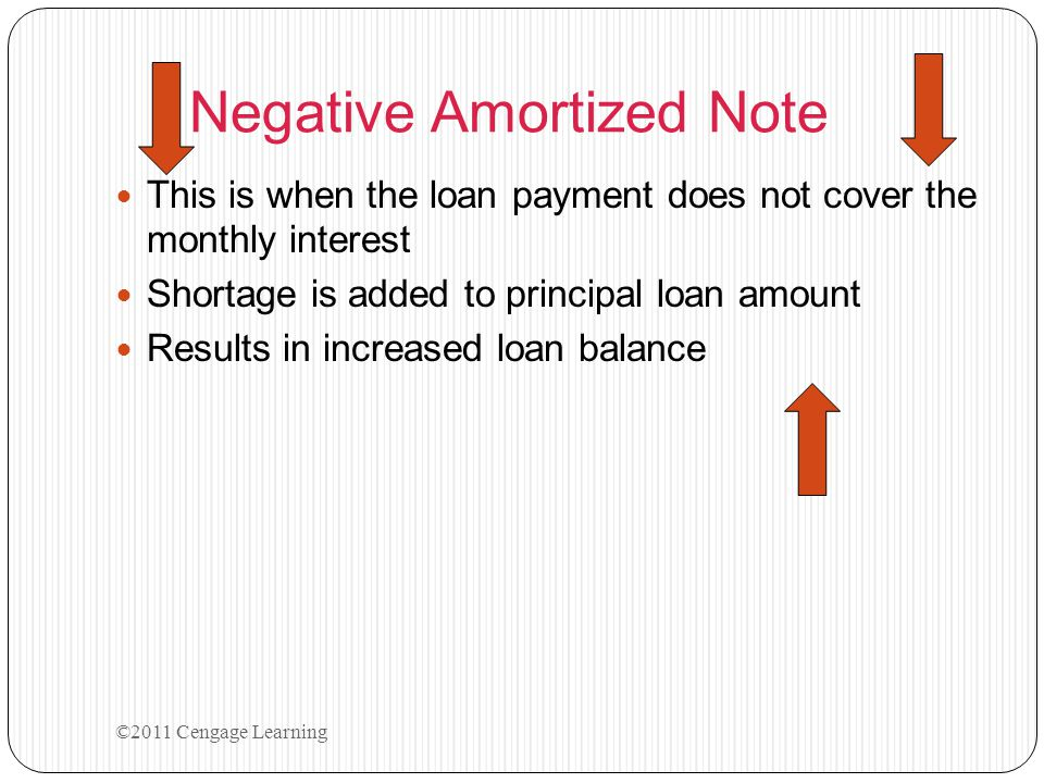 Negative Amortized Note This is when the loan payment does not cover the monthly interest Shortage is added to principal loan amount Results in increa