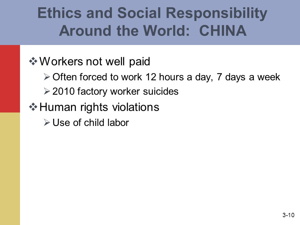 3-10 Ethics and Social Responsibility Around the World: CHINA  Workers not well paid  Often forced to work 12 hours a day, 7 days a week  2010 factory worker suicides  Human rights violations  Use of child labor