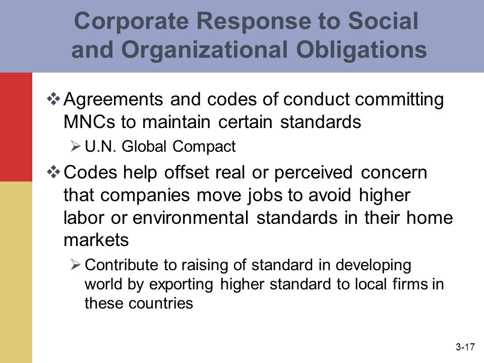 3-17 Corporate Response to Social and Organizational Obligations  Agreements and codes of conduct committing MNCs to maintain certain standards  U.N.