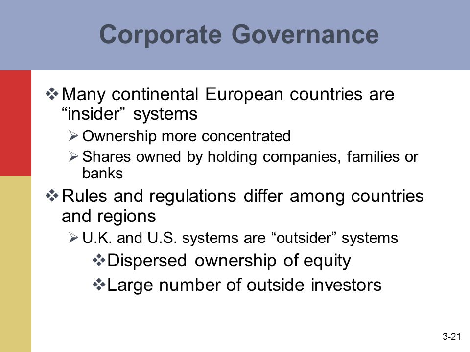 3-21 Corporate Governance  Many continental European countries are insider systems  Ownership more concentrated  Shares owned by holding companies, families or banks  Rules and regulations differ among countries and regions  U.K.