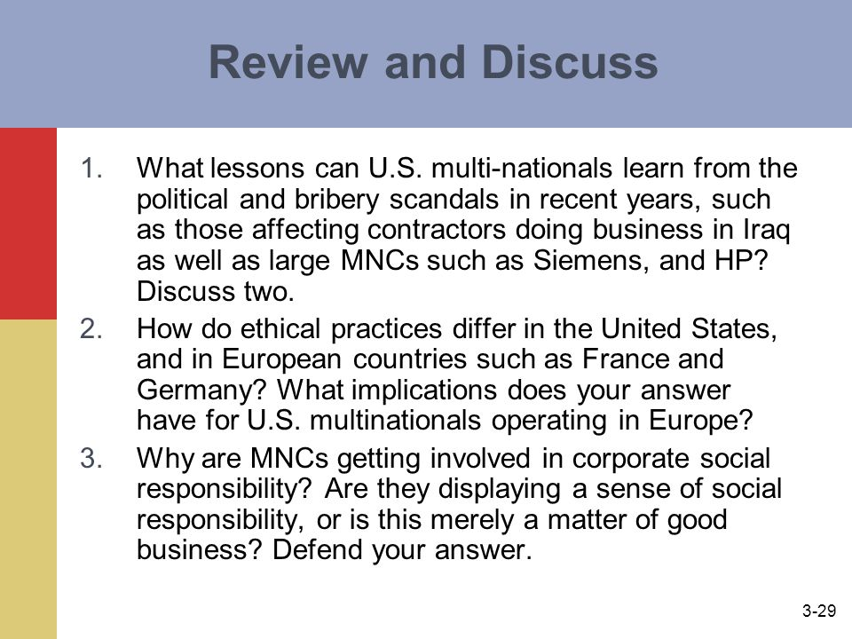 3-29 Review and Discuss 1.What lessons can U.S.