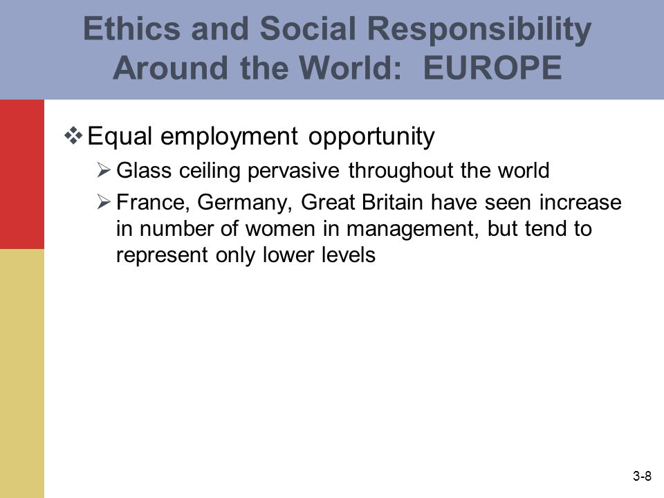 3-8 Ethics and Social Responsibility Around the World: EUROPE  Equal employment opportunity  Glass ceiling pervasive throughout the world  France, Germany, Great Britain have seen increase in number of women in management, but tend to represent only lower levels