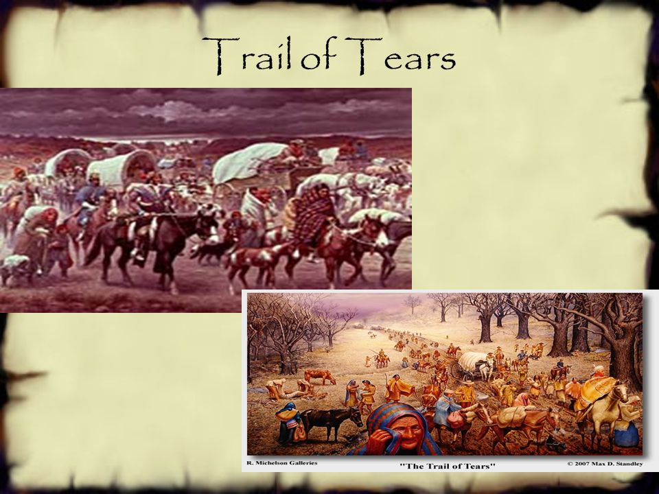 War on Native Americans Trail of Tears (1837—38)-  Forced relocation of Georgia's Cherokee Nation to Oklahoma.  During the forced migration, nearly