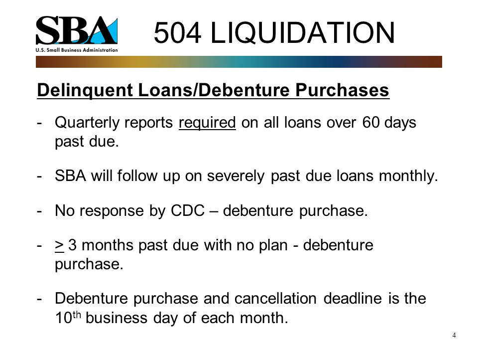 4 Delinquent Loans/Debenture Purchases -Quarterly reports required on all loans over 60 days past due.