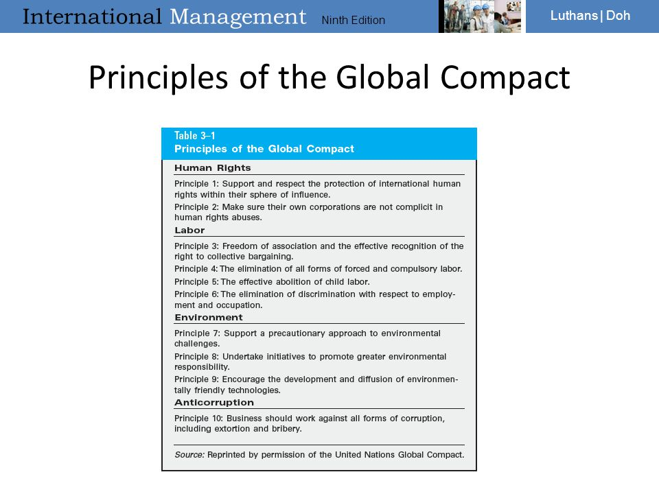 International Management Ninth Edition Luthans | Doh Principles of the Global Compact