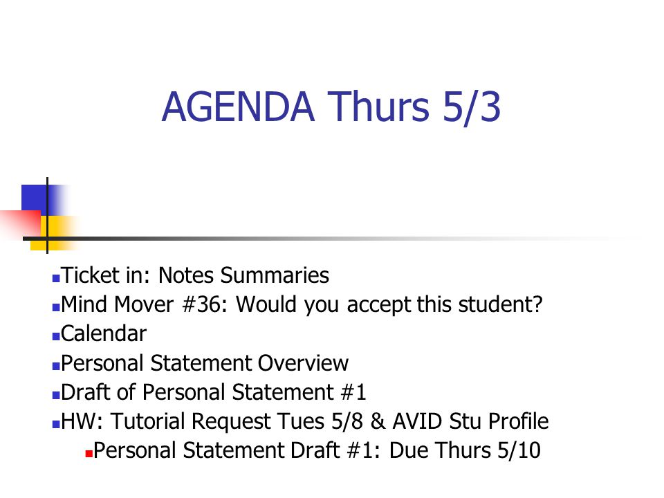 AGENDA Thurs 5/3 Ticket in: Notes Summaries Mind Mover #36: Would you accept this student.