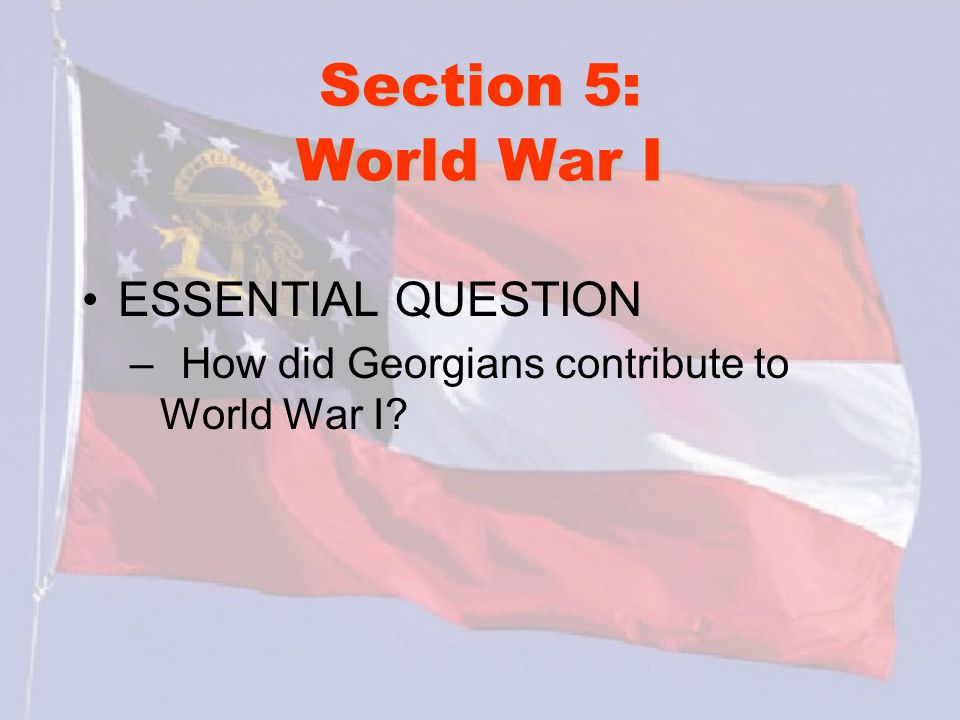 Section 5: World War I ESSENTIAL QUESTION – How did Georgians contribute to World War I