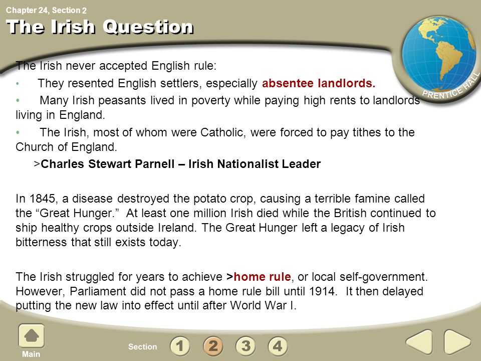Chapter 24, Section The Irish Question The Irish never accepted English rule: They resented English settlers, especially absentee landlords. Many Iris