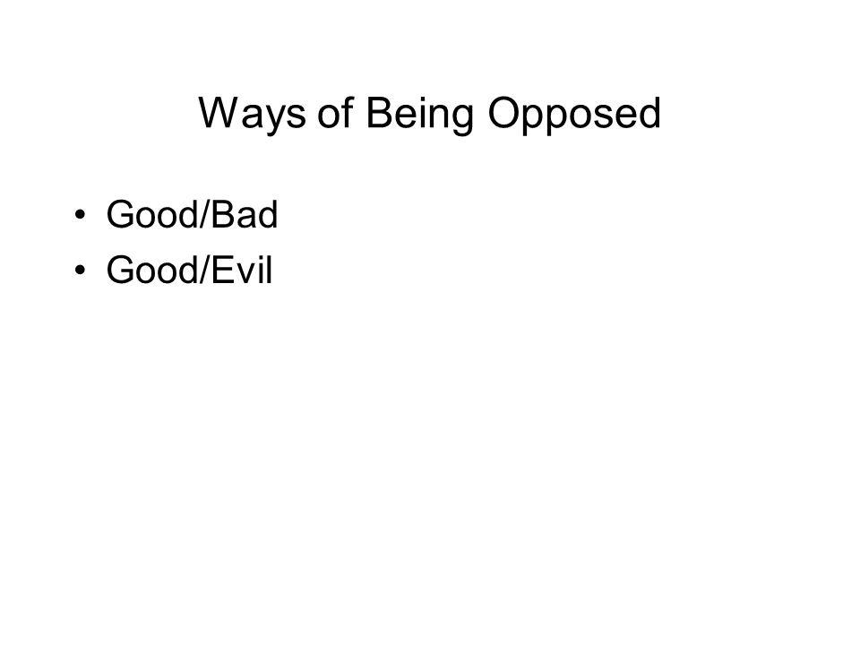 Good/Bad Good/Evil