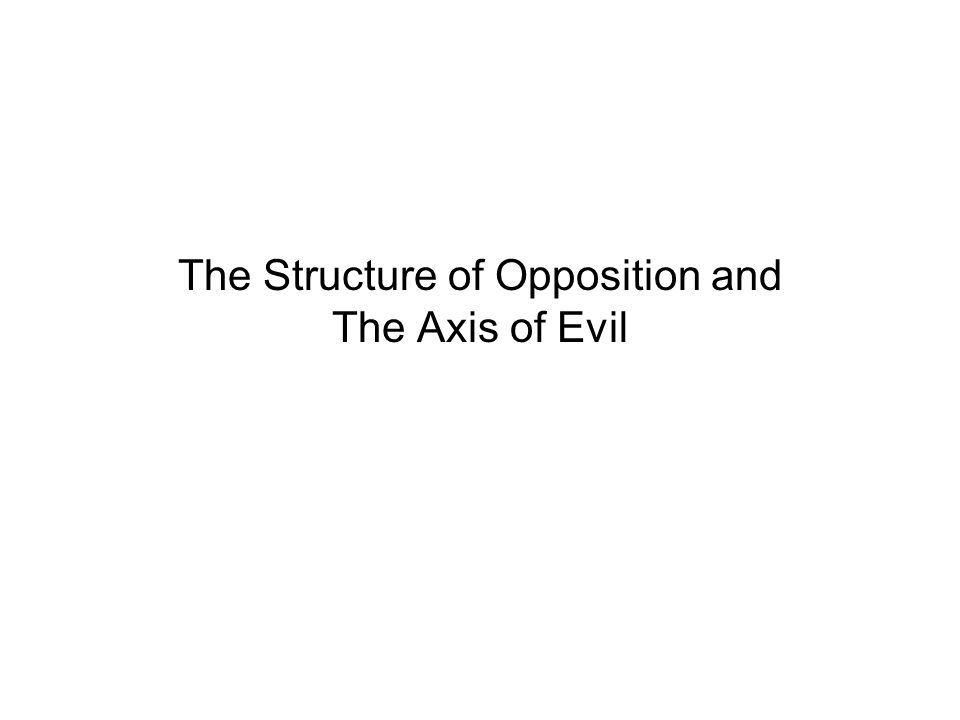 The Structure of Opposition and The Axis of Evil