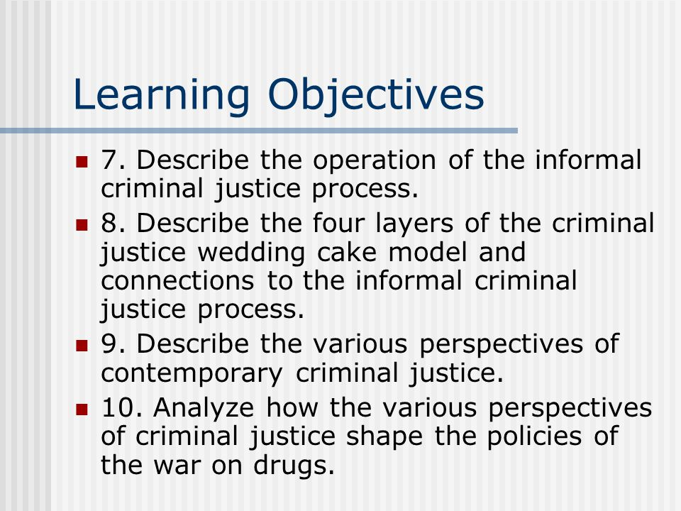 Learning Objectives 7. Describe the operation of the informal criminal justice process.