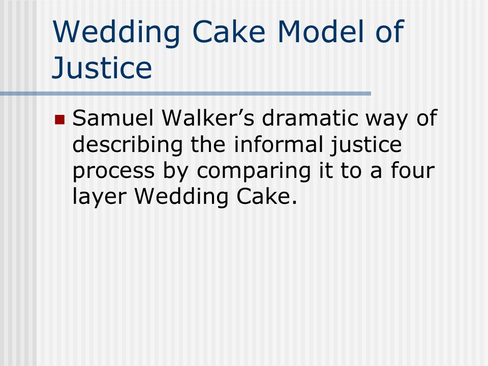 Wedding Cake Model of Justice Samuel Walker's dramatic way of describing the informal justice process by comparing it to a four layer Wedding Cake.