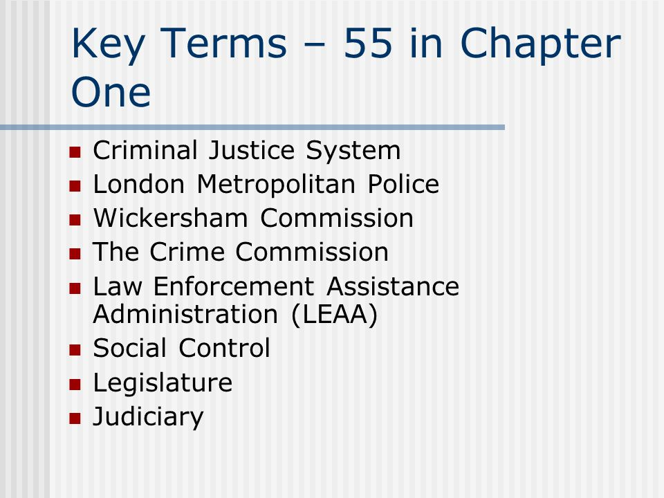 Key Terms – 55 in Chapter One Criminal Justice System London Metropolitan Police Wickersham Commission The Crime Commission Law Enforcement Assistance Administration (LEAA) Social Control Legislature Judiciary