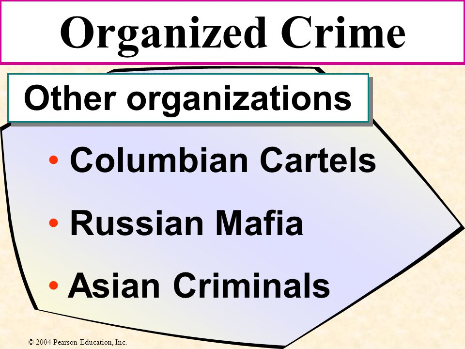 Columbian Cartels Russian Mafia Asian Criminals Organized Crime Other organizations © 2004 Pearson Education, Inc.