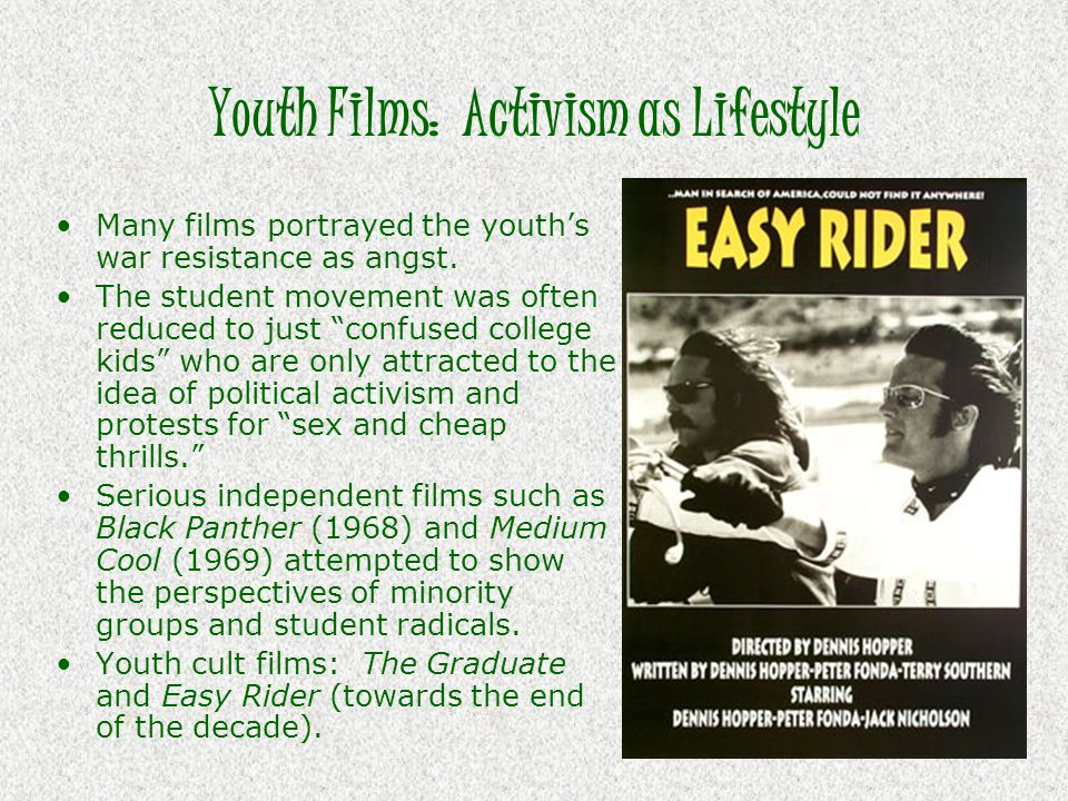 """Youth Films: Activism as Lifestyle Many films portrayed the youth's war resistance as angst. The student movement was often reduced to just """"confused"""