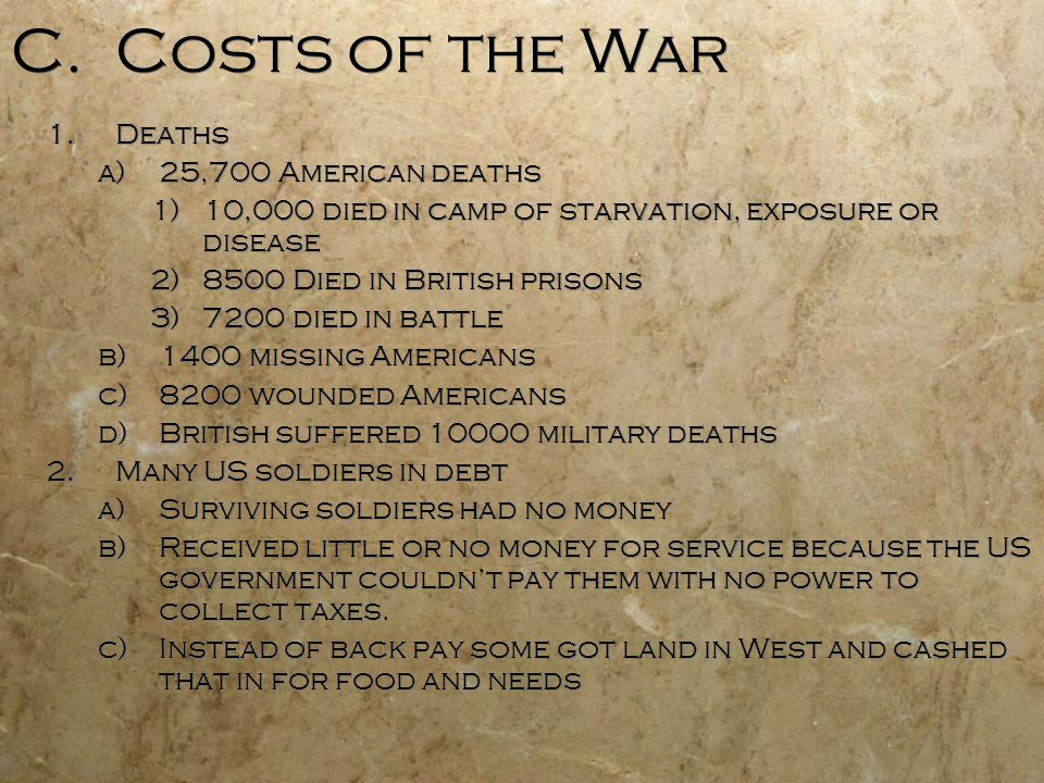C. Costs of the War 1.Deaths a)25,700 American deaths 1)10,000 died in camp of starvation, exposure or disease 2)8500 Died in British prisons 3)7200 d