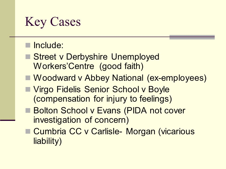 Key Cases Include: Street v Derbyshire Unemployed Workers'Centre (good faith) Woodward v Abbey National (ex-employees) Virgo Fidelis Senior School v Boyle (compensation for injury to feelings) Bolton School v Evans (PIDA not cover investigation of concern) Cumbria CC v Carlisle- Morgan (vicarious liability)