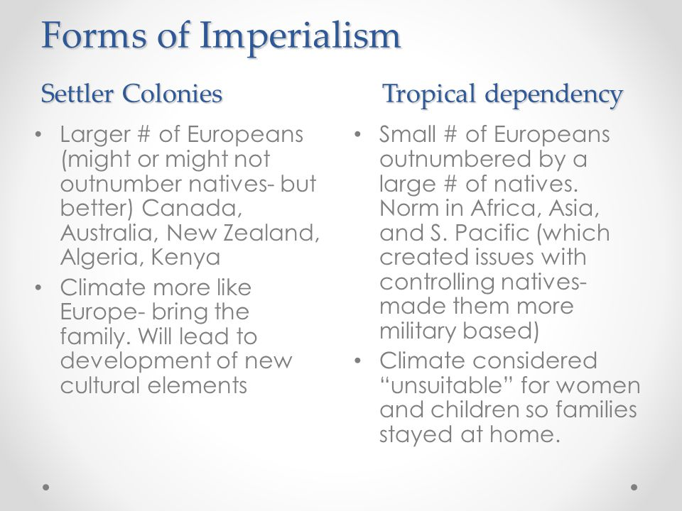 Pacific Settler colonies and small tropical dependencies