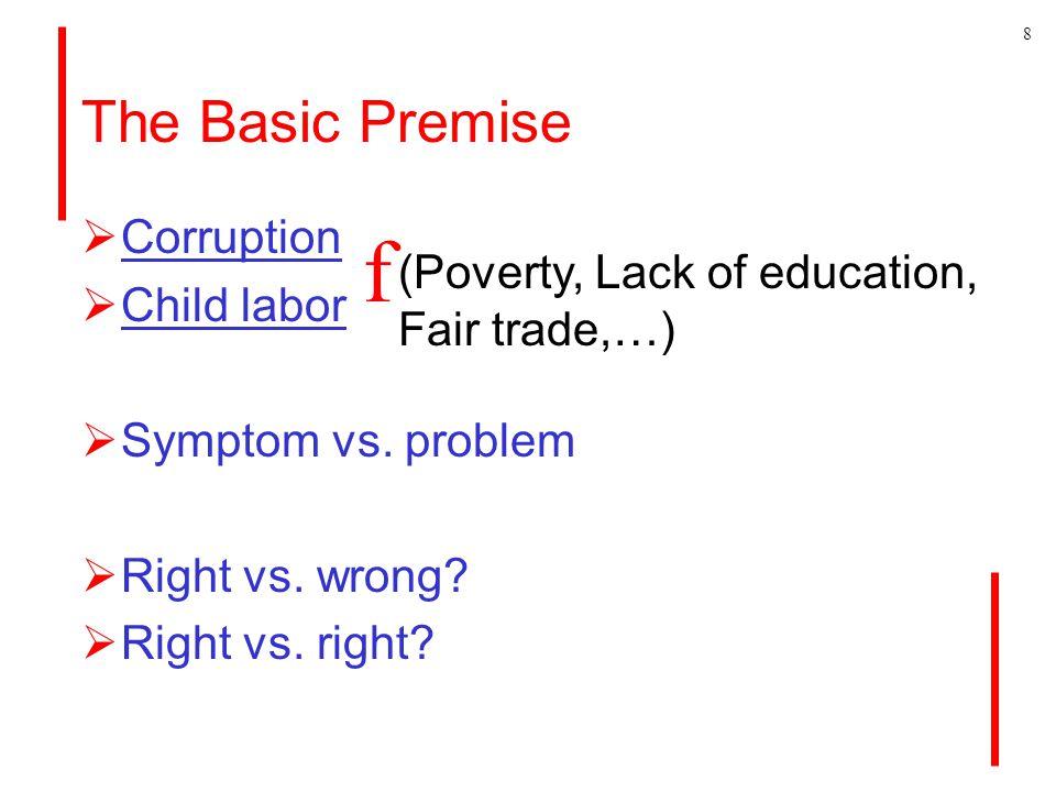 The Basic Premise  Corruption  Child labor  Symptom vs.