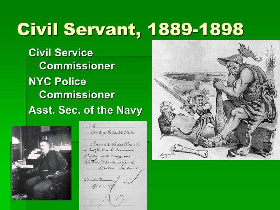 Civil Servant, 1889-1898 Civil Service Commissioner NYC Police Commissioner Asst. Sec. of the Navy