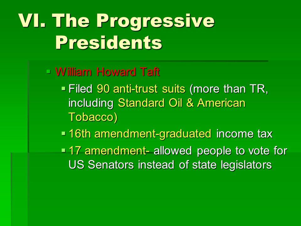 VI. The Progressive Presidents  William Howard Taft  Filed 90 anti-trust suits (more than TR, including Standard Oil & American Tobacco)  16th amen