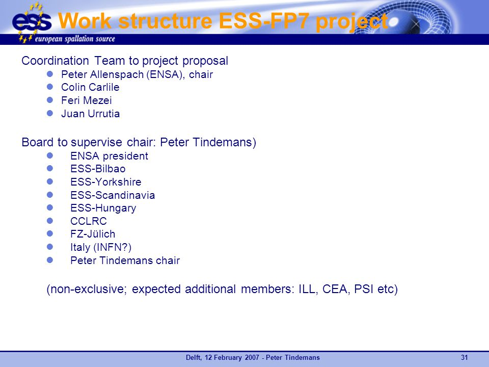 Delft, 12 February 2007 - Peter Tindemans31 Work structure ESS-FP7 project Coordination Team to project proposal Peter Allenspach (ENSA), chair Colin Carlile Feri Mezei Juan Urrutia Board to supervise chair: Peter Tindemans) ENSA president ESS-Bilbao ESS-Yorkshire ESS-Scandinavia ESS-Hungary CCLRC FZ-Jülich Italy (INFN ) Peter Tindemans chair (non-exclusive; expected additional members: ILL, CEA, PSI etc)