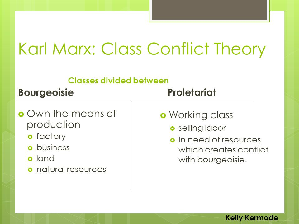 Karl Marx: Class Conflict Theory BourgeoisieProletariat  Own the means of production  factory  business  land  natural resources  Working class  selling labor  In need of resources which creates conflict with bourgeoisie.