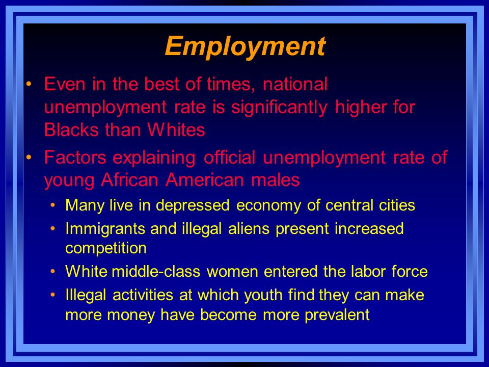 Employment Even in the best of times, national unemployment rate is significantly higher for Blacks than Whites Factors explaining official unemployme