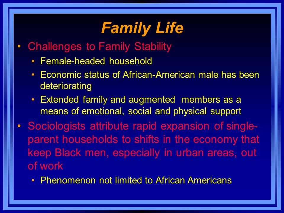Family Life Challenges to Family Stability Female-headed household Economic status of African-American male has been deteriorating Extended family and