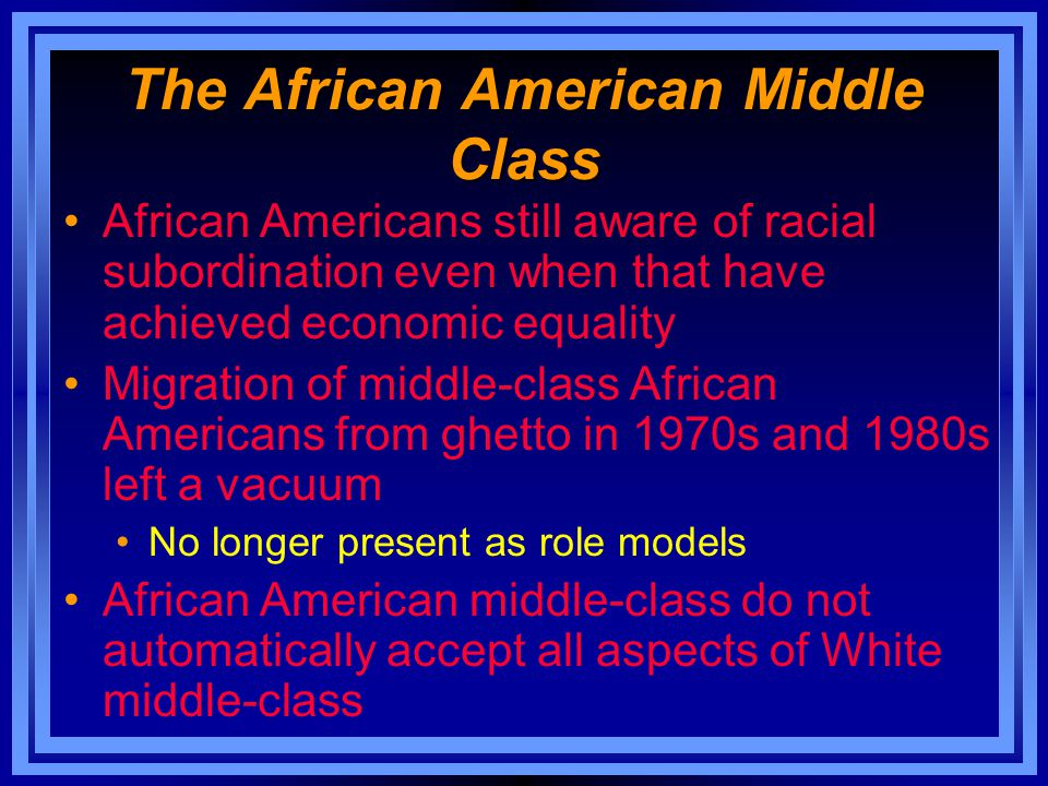 The African American Middle Class African Americans still aware of racial subordination even when that have achieved economic equality Migration of mi