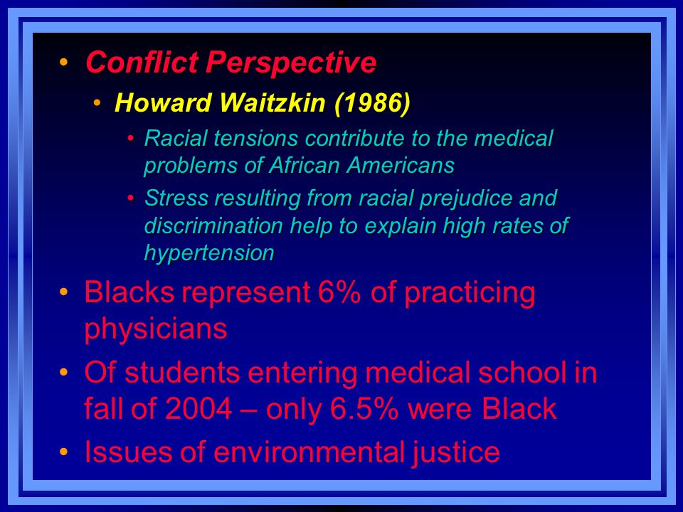 Conflict PerspectiveConflict Perspective Howard Waitzkin (1986)Howard Waitzkin (1986) Racial tensions contribute to the medical problems of African Am