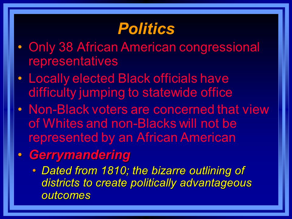 Politics Only 38 African American congressional representatives Locally elected Black officials have difficulty jumping to statewide office Non-Black