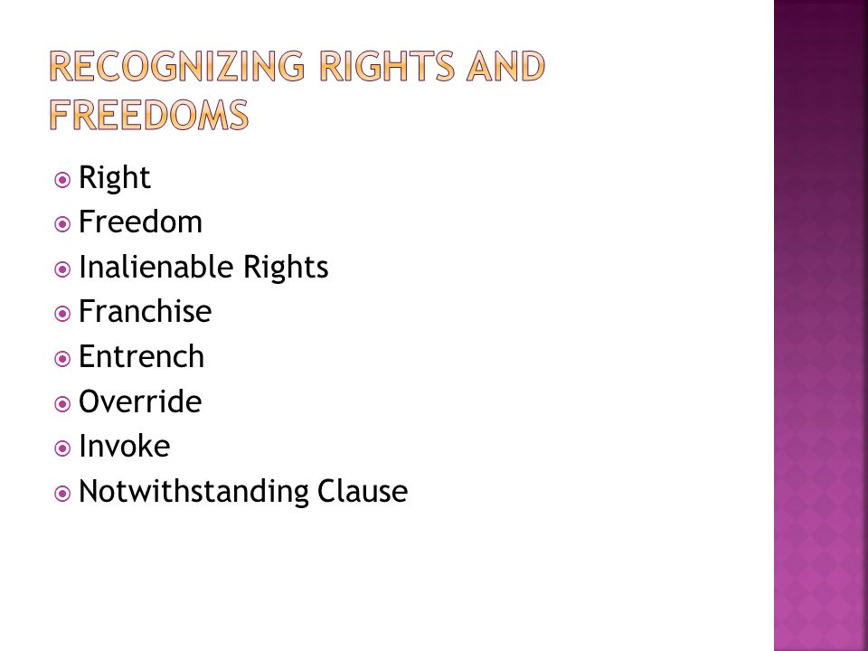  Right  Freedom  Inalienable Rights  Franchise  Entrench  Override  Invoke  Notwithstanding Clause