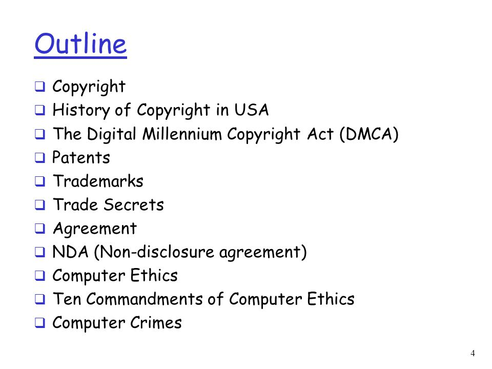 History of Copyright in the U.S.(4)  In 1998, Digital Millennium Copyright Act (DMCA) specifies copyright protection for digital formats  A range of court cases over the past several years have been dealing with the ramifications of the DMCA –Fonovisa v.