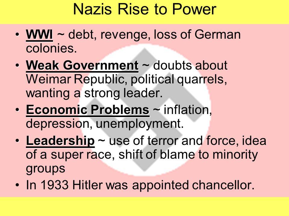 Nazis Rise to Power WWIWWI ~ debt, revenge, loss of German colonies. Weak GovernmentWeak Government ~ doubts about Weimar Republic, political quarrels