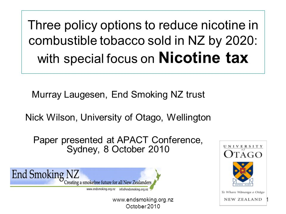 www.endsmoking.org.nz October 2010 1 Three policy options to reduce nicotine in combustible tobacco sold in NZ by 2020: with special focus on Nicotine tax Murray Laugesen, End Smoking NZ trust Nick Wilson, University of Otago, Wellington Paper presented at APACT Conference, Sydney, 8 October 2010
