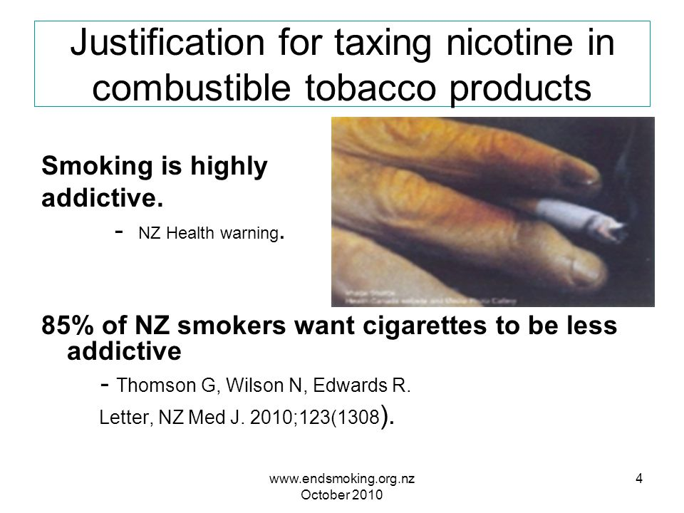 www.endsmoking.org.nz October 2010 5 Nicotine content of leading brands, NZ 1997 per 0.7 g moist tobacco cigarette Blakely, Laugesen, Symons, Fellows, NZ Health Report 1997; 4:33-34,85 Nicotine content of all cigarettes is at least five times the 2 mg content (0.2 mg yield) per cigarette needed, at 25 cigarettes daily, to equal the addiction threshold.