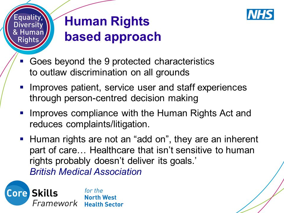  Goes beyond the 9 protected characteristics to outlaw discrimination on all grounds  Improves patient, service user and staff experiences through person-centred decision making  Improves compliance with the Human Rights Act and reduces complaints/litigation.