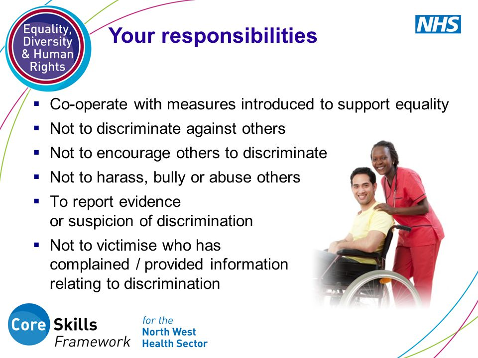  Co-operate with measures introduced to support equality  Not to discriminate against others  Not to encourage others to discriminate  Not to harass, bully or abuse others  To report evidence or suspicion of discrimination  Not to victimise who has complained / provided information relating to discrimination Your responsibilities