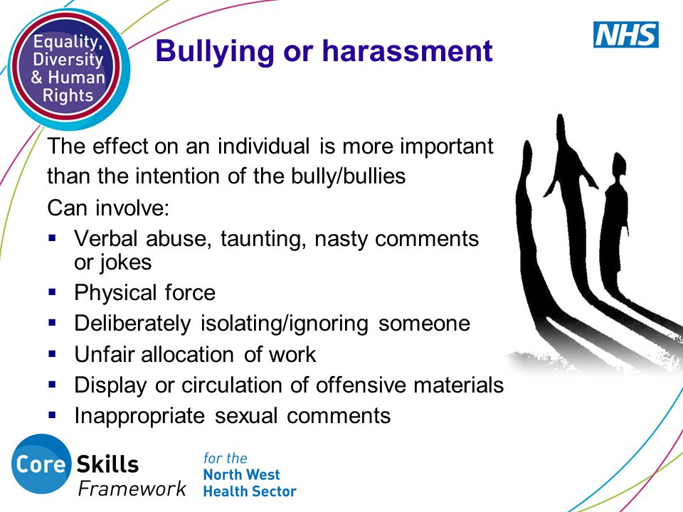 The effect on an individual is more important than the intention of the bully/bullies Can involve:  Verbal abuse, taunting, nasty comments or jokes  Physical force  Deliberately isolating/ignoring someone  Unfair allocation of work  Display or circulation of offensive materials  Inappropriate sexual comments Bullying or harassment