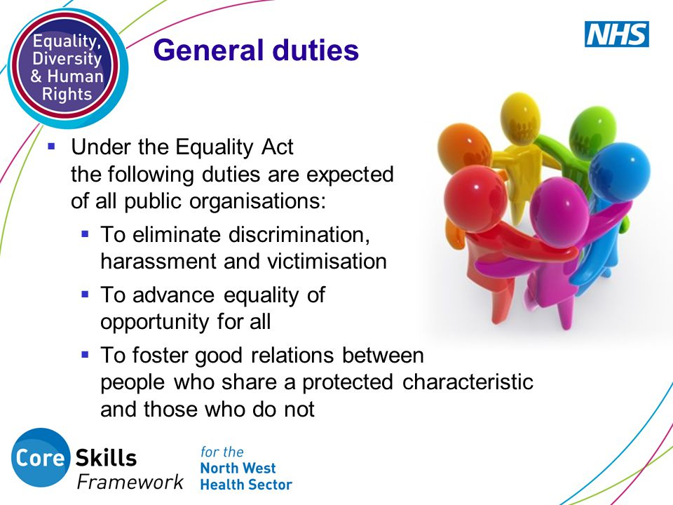  Under the Equality Act the following duties are expected of all public organisations:  To eliminate discrimination, harassment and victimisation  To advance equality of opportunity for all  To foster good relations between people who share a protected characteristic and those who do not General duties