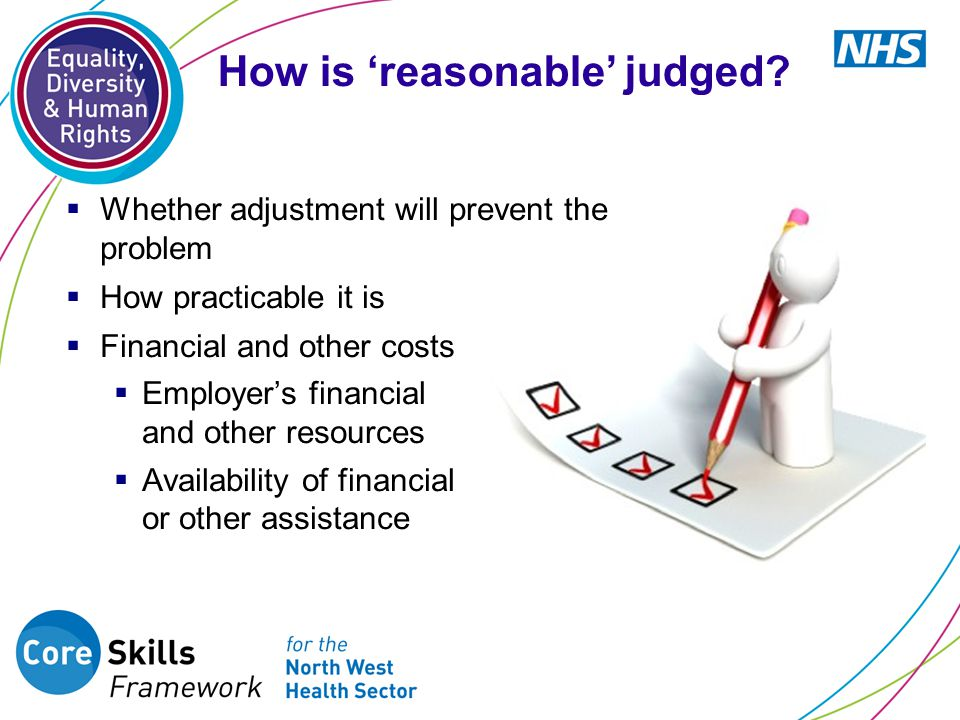  Whether adjustment will prevent the problem  How practicable it is  Financial and other costs  Employer's financial and other resources  Availability of financial or other assistance How is 'reasonable' judged