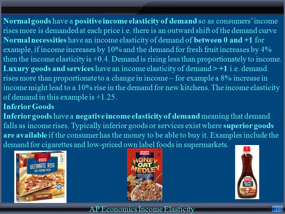 10 AP Economics Income Elasticity Normal goods have a positive income elasticity of demand so as consumers' income rises more is demanded at each pric