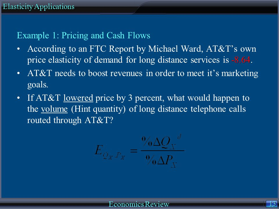 13 Example 1: Pricing and Cash Flows -8.64According to an FTC Report by Michael Ward, AT&T's own price elasticity of demand for long distance services