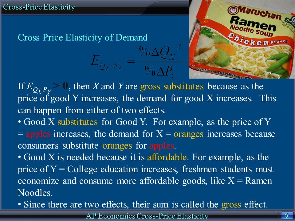 6 6 Cross Price Elasticity of Demand If E Q X,P Y > 0, then X and Y are gross substitutes because as the price of good Y increases, the demand for goo