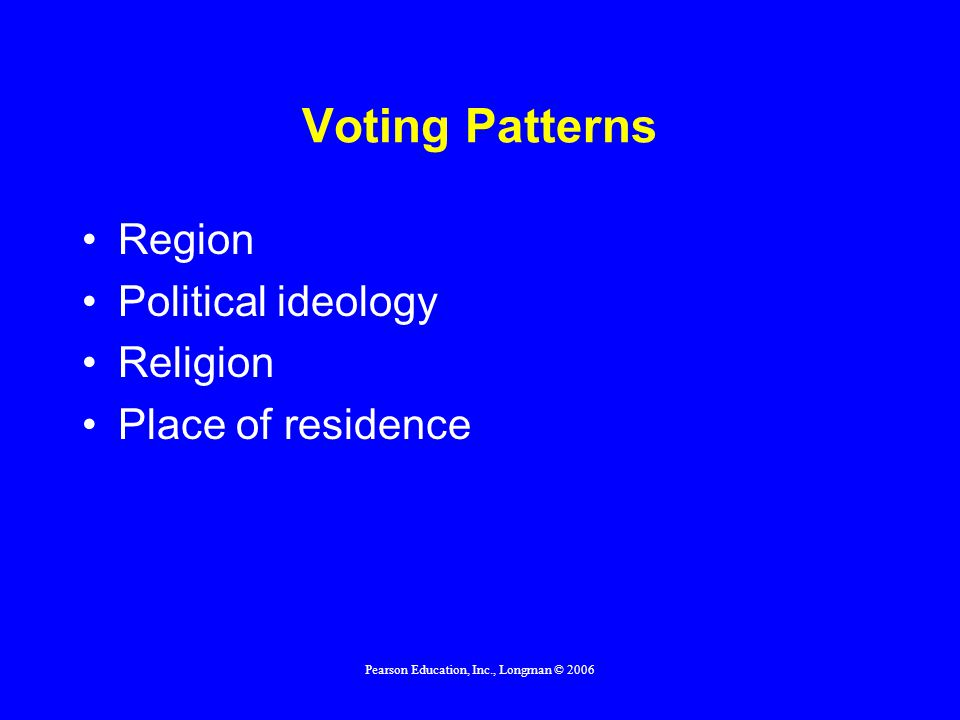 Pearson Education, Inc., Longman © 2006 Voting Patterns Income Race and ethnicity Education Gender Age Family and lifestyle status