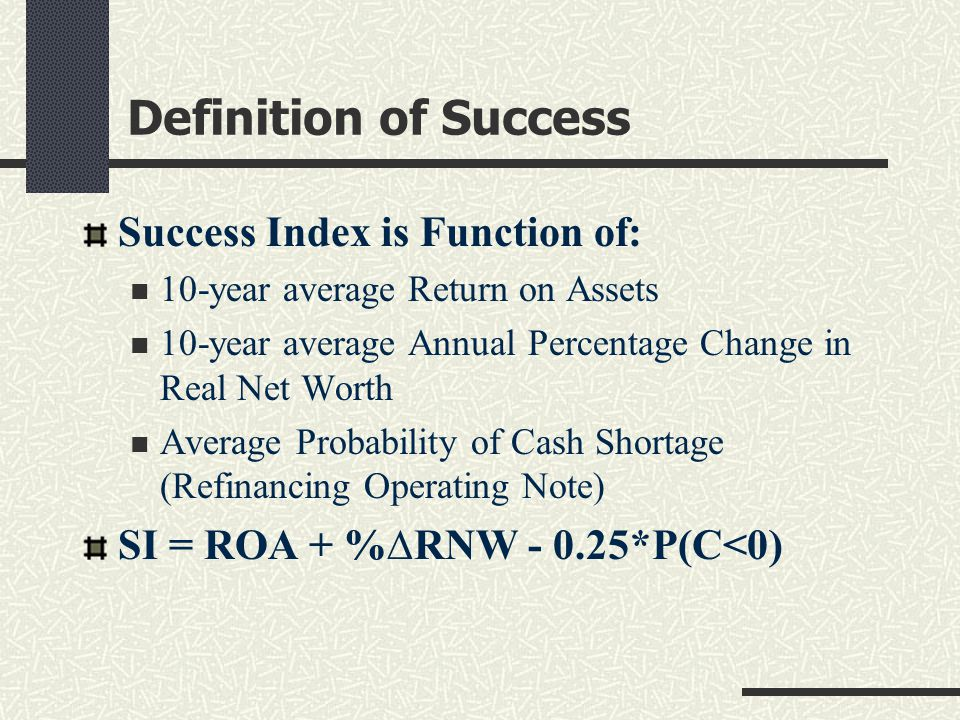 Definition of Success Success Index is Function of: 10-year average Return on Assets 10-year average Annual Percentage Change in Real Net Worth Averag